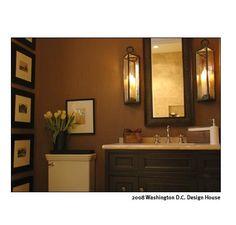 bathrooms - bathroom, neutral, traditional, lantern, Via Spark! chocolate brown bathroom vanity, creamy brown walls and art.