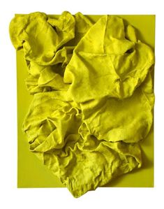 """""""Lemon Yellow Folds"""" is a mixed media wall sculpture made with burlap and paint on linen. The elegant folds are studiedly built up and add intricac. Painting Burlap, 3d Painting, Mixed Media Painting, Textile Sculpture, Abstract Sculpture, Sculpture Art, Textile Art, Textile Texture, Burlap Wall"""