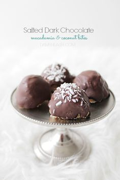 These little Salted Dark Chocolate Macadamia & Coconut Bites are sweet, easy to make and delightfully satisfying.