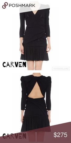 Carven Paris Black Designer Dress V- neckline, 3/4 length sleeves, no appliqués, ruffles, no pockets, lined interior, side closure, zip closure, crêpe, stretch, solid color. Never worn. NWOT. Carven Dresses Long Sleeve