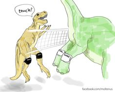 If dinosaurs could play volleyball...have a funny friday! facebook.com/moltenus