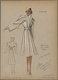 From New York Public Library Digital Collections. Fashion Design Sketchbook, Fashion Drawings, Fashion Illustrations, 1930s Fashion, Vintage Fashion, New York Public Library, Public Libraries, Capes & Ponchos, Dress Sketches