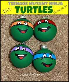 This Teenage Mutant Ninja Turtles ornaments breaks down exactly how to make these ornaments.  It's way easier than you would think!  #tmnt #christmas #craft