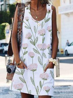 Floral Sleeveless Casual Shift Dresses Long Sleeve Floral Dress, Maxi Dress With Sleeves, Short Sleeve Dresses, Sleeveless Dresses, Floryday Vestidos, Casual Dresses, Summer Dresses, Shift Dresses, Mini Dresses