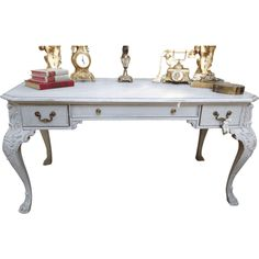 "Beautiful Ornate French Style Desk, hand painted with a lovely grey shade chalk paint, mildly distressed and finished with a clear wax Dimensions: 61"" wide 31"" deep and 30 1/2"" tall"