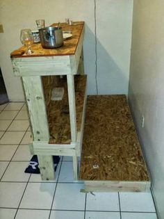 Wood Bar Table w/Shelf & Platform - Craigslist listing in Colorado  (N Fort Collins) Upcycled scraps, pallets, and measurements could be customized to accommodate your space