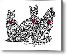 Three Cats Acrylic Print By Melissa Sherbon