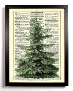 Christmas Tree Holiday Repurposed Upcycled Dictionary Art Vintage Book Print Recycled Vintage Dictionary Page Buy 2 Get 1 FREE