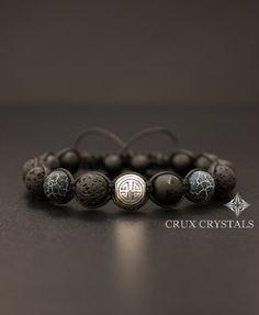SHOU/LONG LIFE Lava Rock Black Onyx & Agate Mens Beaded Bracelet Gemstone Shamballa Wrap Tibetan Mantra Om Mani Padme Hum Longevity Bracelet