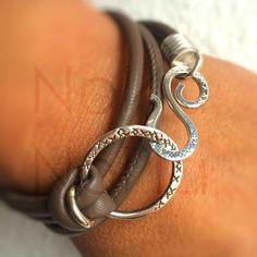 NoNa-NoNa Leather wrap Bracelet Sterlig Silver