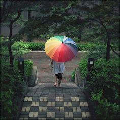 rainbow umbrella by yein~, via Flickr