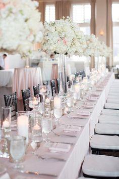Stunning white ballroom wedding centerpiece; photo: Sarah Kate Photography