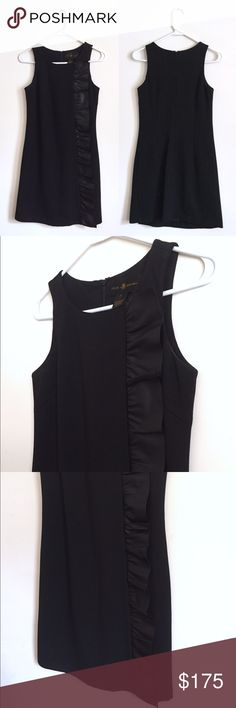 Julie Brown NYC LBD w/ Faux Leather Ruffle Detail Absolutely gorgeous and very subtly unique spin on the every day a little black dress. Incredibly well made, fabric is so soft yet sturdy. Lined inside. Faux leather ruffle detail along front left side. Zip back. Excellent condition. Dry clean only. Julie Brown dresses generally run for about $200- $300, but I'm more than open to offers on this, so please don't hesitate to make an offer! Size P, according to the Julie Brown sizing chart is a…