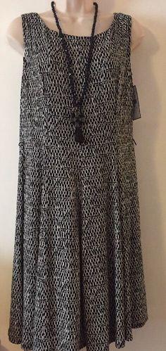 Jessica Howard Black & Sand  Fit And Flare Jersey Dress Petit 10  | eBay