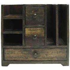 Dark Wood Box with Drawers & Shelves