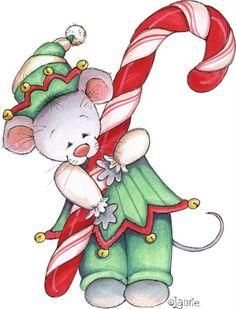 Christmas Mouse - By: Laurie Furnell Christmas Graphics, Christmas Clipart, Christmas Printables, Christmas Projects, Winter Christmas, Vintage Christmas, Christmas Holidays, Xmas, Christmas Patterns