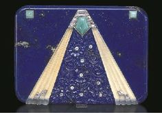 AN ELEGANT GEM-SET LAPIS LAZULI CIGARETTE CASE, BY VAN CLEEF & ARPELS  the carved lapis lazuli case centering upon a central triangular-shaped panel formed by frosted rock crystal, accented by lozenge-shaped and calibré-cut diamonds and a cabochon jadeite, the center of carved lapis lazuli flowers, opening to reveal a compartment, mounted in 18k white gold, circa 1928, with French assay mark and maker's marks  Signed Van Cleef & Arpels, Paris, no. 31057  With maker's mark for Lacloche Frères