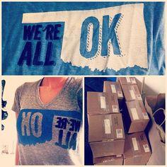 OKLAHOMA LOVE  #wereallok #shirts shipped today! #oklahoma #love #giveback #liveyourlove #oklahomastrong #vneck #crewneck  www.liveyourlove.com/wereallok