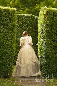 Victorian Woman In A Formal Garden Maze Print By Lee Avison