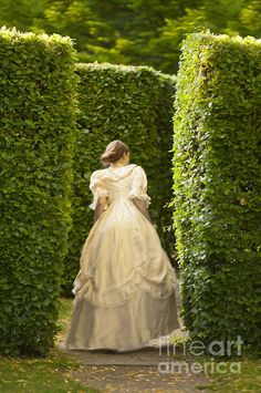 Victorian Woman In A Formal Garden Maze Print By Lee Avison