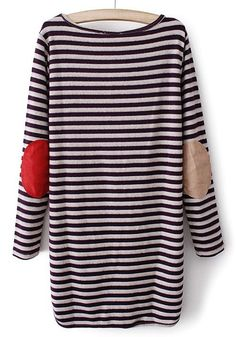 Amaranth Striped Irregular Round Neck Cotton Blend Sweater - Sweaters - Tops