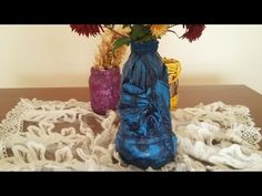 Pet şişe ve gazeteden dekoratif saksı yapılışı / Decorative vase from plastic botle and newspaper - YouTube