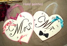 Hand Painted Wedding Sign Your Words,Mr with black bow tie and Mrs with pink bow on the top. Honeymoon Bridal Showers, Crafty Fox, Wooden Hearts, Wedding Inspiration, Wedding Ideas, Wedding Signs, Wedding Engagement, Dream Wedding, Bows