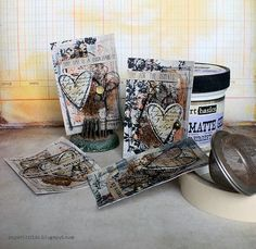 Riikka Kovasin - Paperiliitin: Magical Tea ATC, take 2 - Artists Live Atc Cards, Pocket Letters, Artist Trading Cards, Tags, Art Pieces, Mixed Media, Paper Crafts, Valentines, Scrapbook
