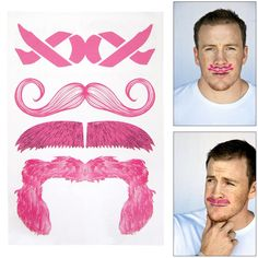 Pink Ribbon StacheTats - Set of 4 at The Breast Cancer Site...bc these are funny