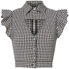 This gingham cropped blouse features a standard collar with ruffled cap sleeves and a triangular cutout at bust. In black/white. Black Plaid Shirt, Gingham Shirt, Black Blouse, Plaid Shirts, White Plaid, Frilly Shirt, Ruffle Shirt, Ruffle Top, Crop Shirt