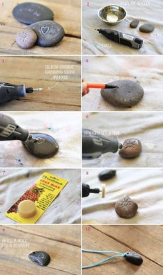 Carving Rocks with a Dremel! All you need is your Dremel, a couple of different bits, a small bowl of water and some smooth river pebblesStone carving with a Dremel tool. Steps polishing stone with bees wax.How to carve rocks with a Dremel. Make rock pend Stone Crafts, Rock Crafts, Fun Crafts, Diy And Crafts, Arts And Crafts, Beach Rocks Crafts, Decor Crafts, Art Decor, Dremel Werkzeugprojekte