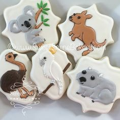 Koala Emu Kangaroo Wombat Cookies by Sweet Scene Bakery Baby Christmas Photos, Aussie Christmas, Australian Christmas, Australian Party, Australian Animals, Australian Cookies, First Birthday Party Themes, First Birthday Cakes, Theme Parties