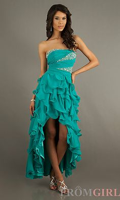 Light teal strapless high low prom dress with ruffled skirt and embellishments on bodice.