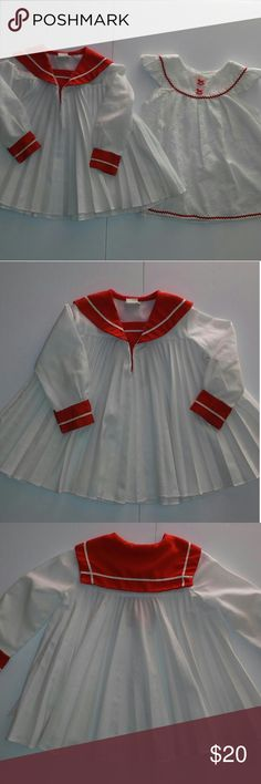 Vintage tops Really cute tops Sailor top is youngland size 4t has two small spots see picture is missing button has very little tear see pictures  Horse eyelet top looks handmade fits 4t has two cute horse buttons no stains no rips Vintage Shirts & Tops Blouses
