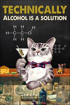 Technically alcohol is a solution poster Funny Cats, Funny Animals, Cute Animals, Crazy Cat Lady, Crazy Cats, I Love Cats, Cool Cats, Image Deco, Cat Posters