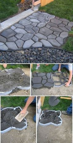 gravier allée en béton, ciment faire une aller décorative,