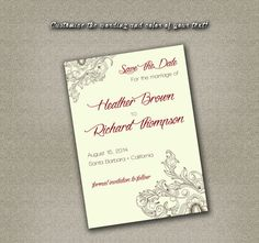 DIY Printable Wedding Save The Date PDF - Retro Vintage Brown Floral Design (Maroon Text or Your Color Choice!) on Etsy, $12.00
