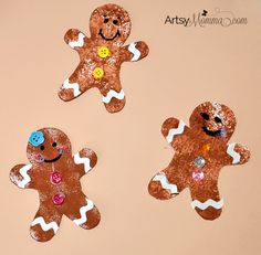 Looking for a fun Christmas art project to do with kids? Check out these 4 easy ways to make Sponge Painted Gingerbread Man Cookie Crafts! Christmas Art Projects, Christmas Activities For Kids, Preschool Christmas, Preschool Crafts, Christmas Fun, Holiday Crafts, Kid Crafts, Preschool Ideas, Gingerbread Man Crafts