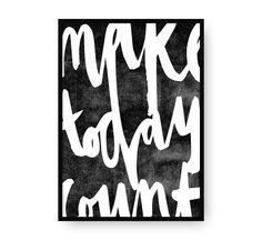 Make today count, arte imprimible, arte para pared, láminas imprimibles, Poster, tipografía, motivacional, Caligrafía, Haz que hoy cuente de EydavyDesign en Etsy