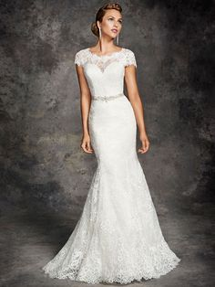 Ella Rosa 2016 Spring Wedding Dresses for Chapel Wedding Jewel Neck Lace Mermaid Bridal Gowns with Cap Sleeves And Buttons Back Long Train from Nicedressonline,$178.02 | DHgate.com