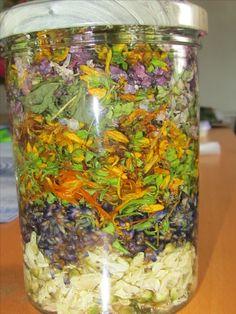 Tinktur aus Akazienblüten, Lavendel, Calendula, Johanniskraut, Ehrenpreis, Fliederblüten und Schafgarbe gegen Stress