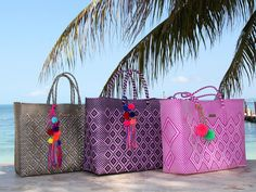 NEW! Hand-woven tote bags from Oaxaca, artisan-made beauties in bright colors! Ethical fashion from Mexico, greetings to you all from Cancun!
