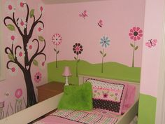 Beautiful Pink Flowers and Butterfly Wall Stickers in Teenage Girls Bedroom Design Ideas Pink Bedroom Design, Teenage Girl Bedroom Designs, Teenage Girl Bedrooms, Girls Room Paint, Pink Bedroom For Girls, Little Girl Rooms, Butterfly Bedroom, Butterfly Wall Decals, Purple Butterfly