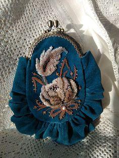 Beaded purse   Купить Вечерняя театральная сумочка Винтаж - морская волна, цветочный, Вышивка бисером, театральная сумочка