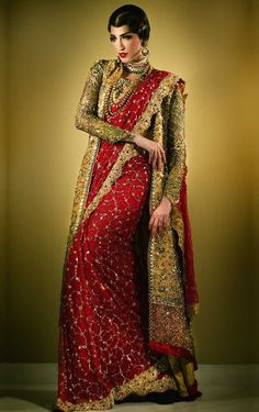 Tena Durrani Bridal Collection Tena Durrani is one of those brands which is known for its intricate embellishments and exquisite ensemble. Bridal Silk Saree, Saree Wedding, Wedding Mehndi, Bridal Mehndi, Wedding Dress, Saree Draping Styles, Saree Styles, Blouse Styles, Pakistani Outfits