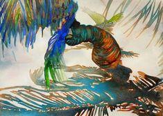 "Carol Carter Watercolor, ""Blue Palm Watercolor,"" 15X22"