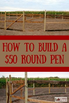 Let me show you how some salvaged materials and smart shopping allowed us to build a round pen for o Round Pens For Horses, Horse Round Pen, Horse Pens, Horse Shelter, Horse Barn Plans, Design Jardin, Horse Stalls, Horse Training, Training Tips