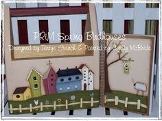 Prim Spring Birdhouses   Painted by Cyndy by PaintingWithFriends