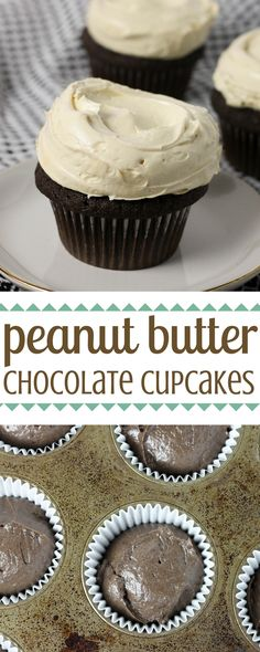 Get this perfect #peanutbutter #chocolate cupcake recipe here, and make your weeknight baking dreams come true! | Dough-Eyed