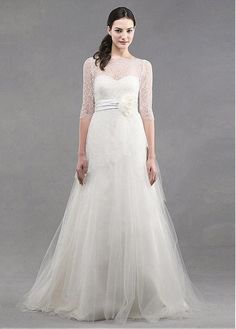 Fabulous Tulle Bateau Neckline A-line Wedding Dresses With Handmade Flowers